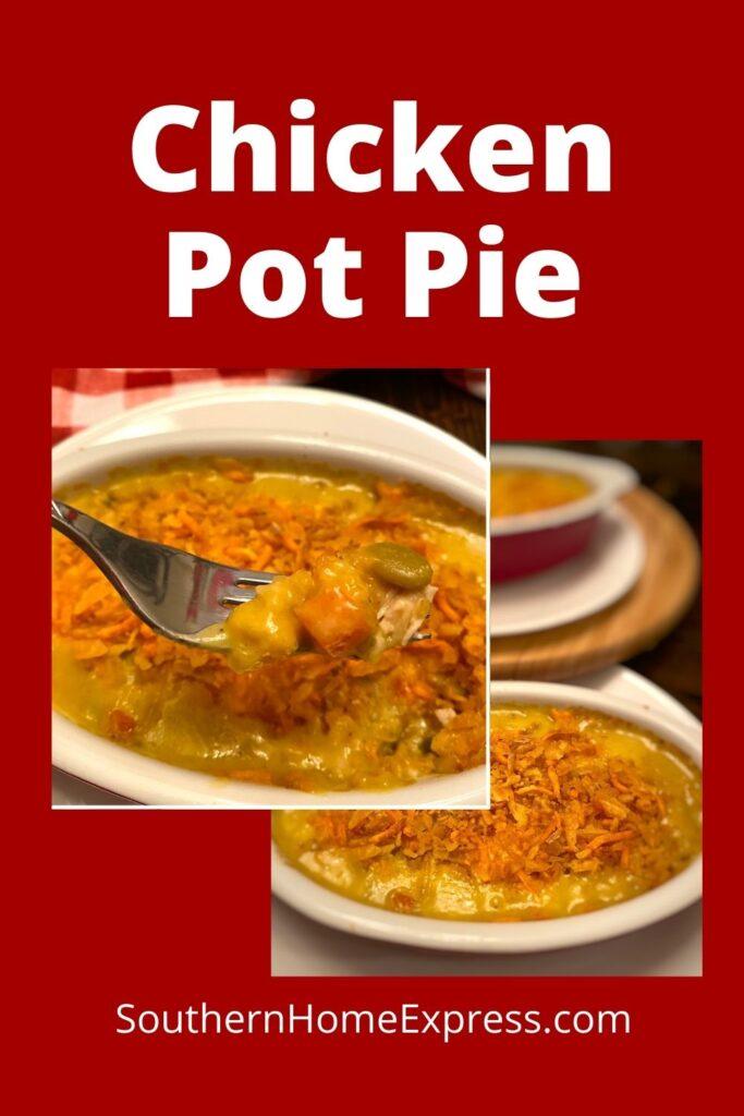 chicken pot pie on a fork beside 2 chicken pot pies