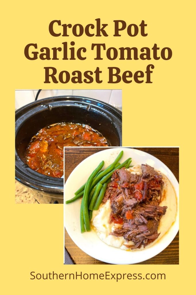 pot of shredded garlic tomato roast beef beside a plate of roast over mashed potatoes and green beans