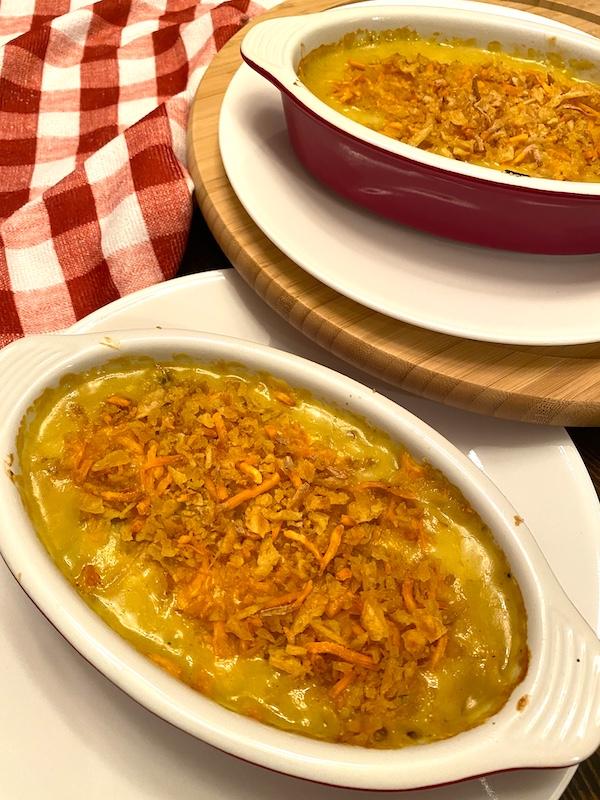 2 individual servings of chicken pot pie