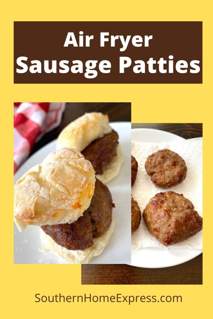 sausage biscuits next to a plate of cooked sausage patties