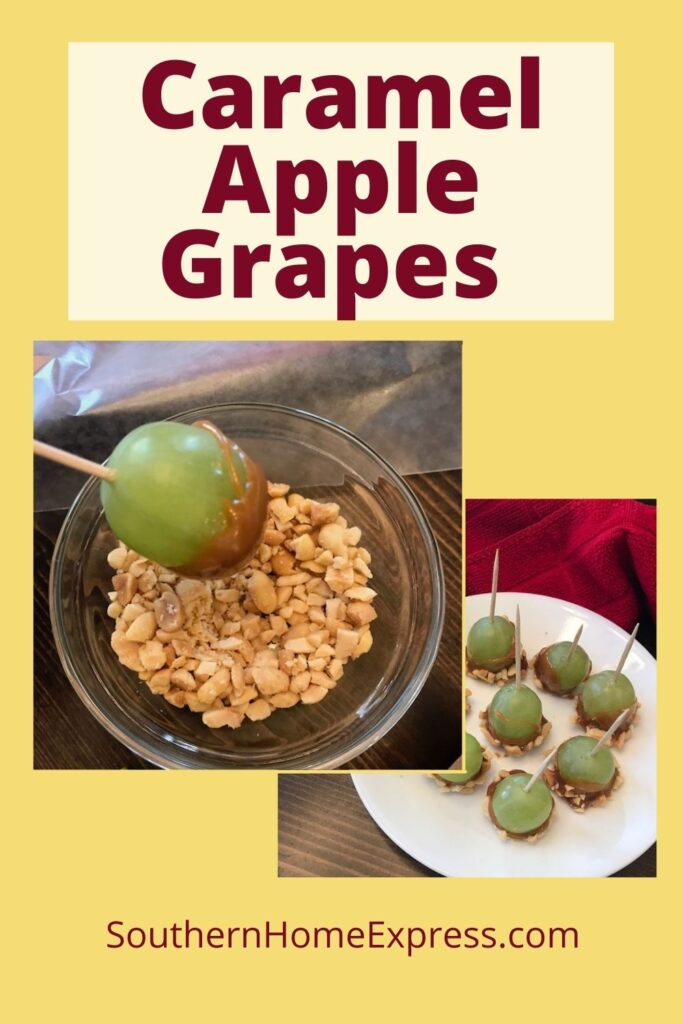 dipping a caramel covered grape into a bowl of nuts and a plate of caramel apple grapes with toothpicks