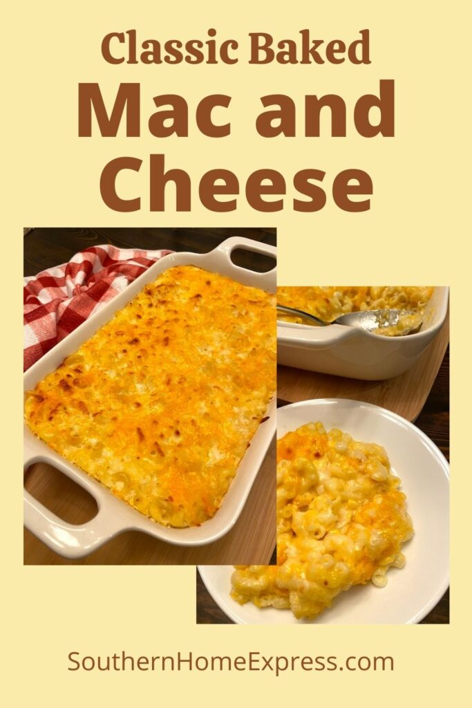 pan of classic baked mac and cheese beside a serving of it on a plate