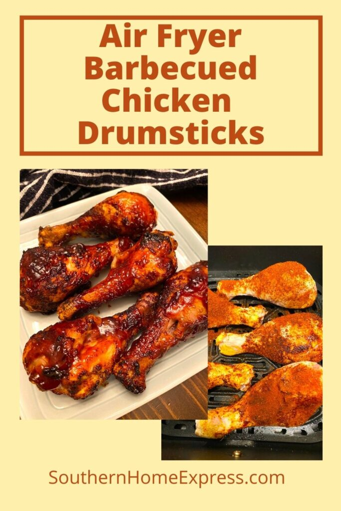air fryer barbecued chicken on a plate beside dry-rubbed chicken drumsticks
