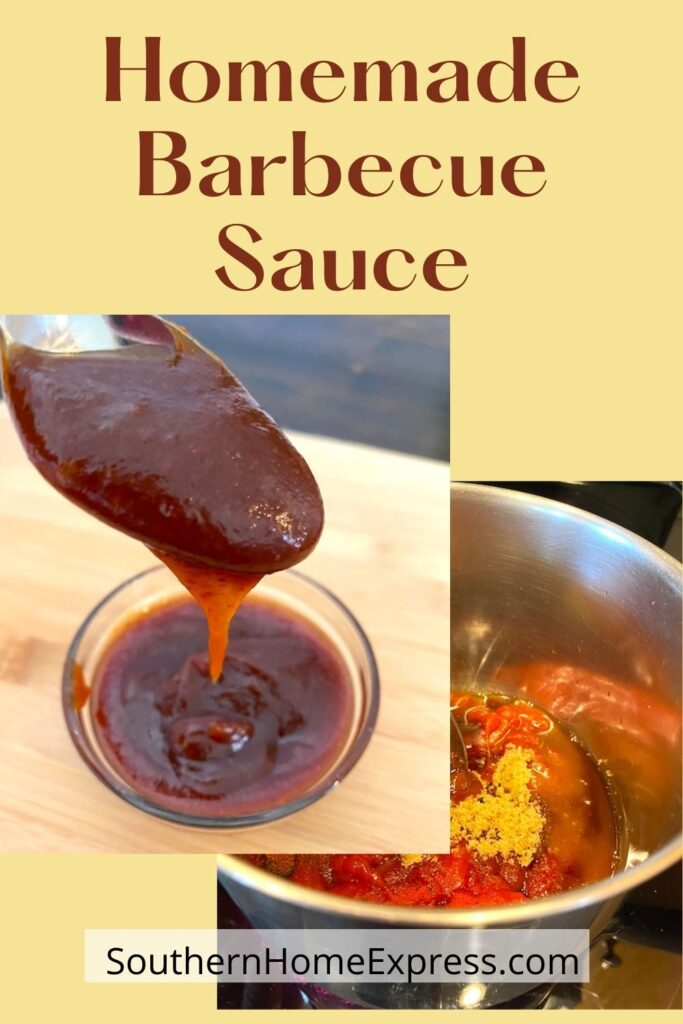 bowl of barbecue sauce next to a pot of barbecue sauce sauce ingredients