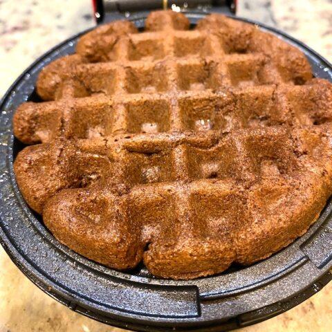 brownie waffle on a waffle iron