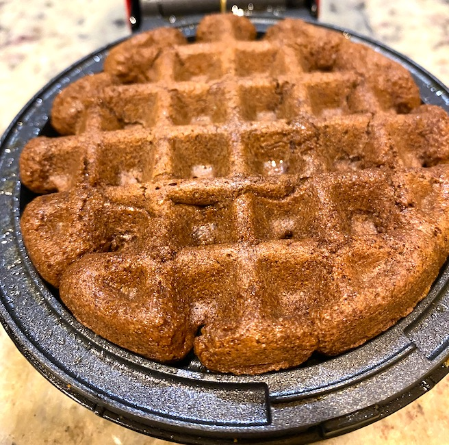 brownie in a waffle iron.