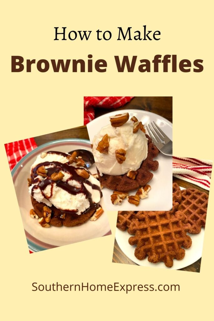 brownie waffles 3 different ways--plain, with ice cream and nuts, and with ice cream, nuts, and chocolate syrup.