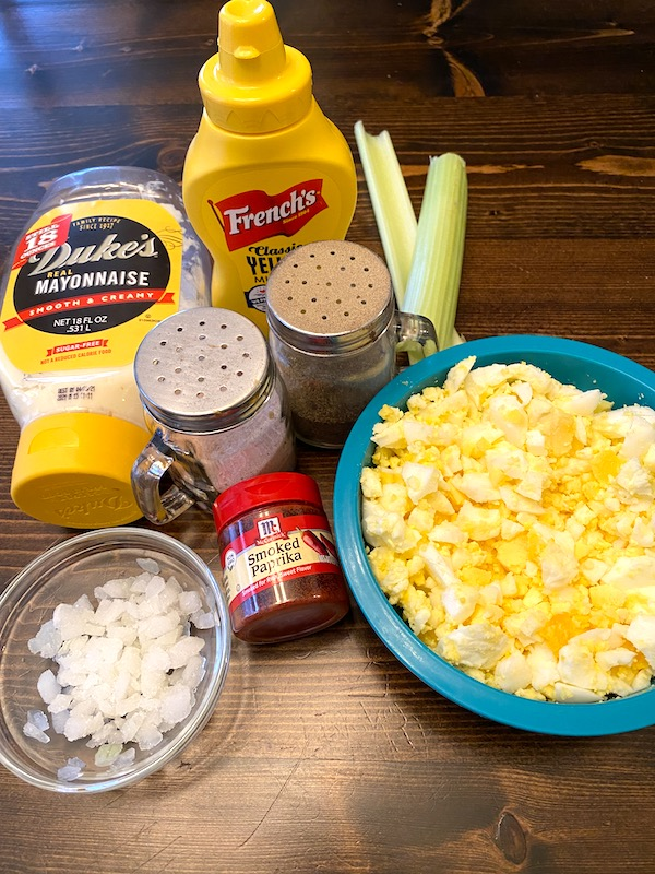 chopped eggs, onions, celery, mayonnaise, mustard, paprika, salt, and pepper