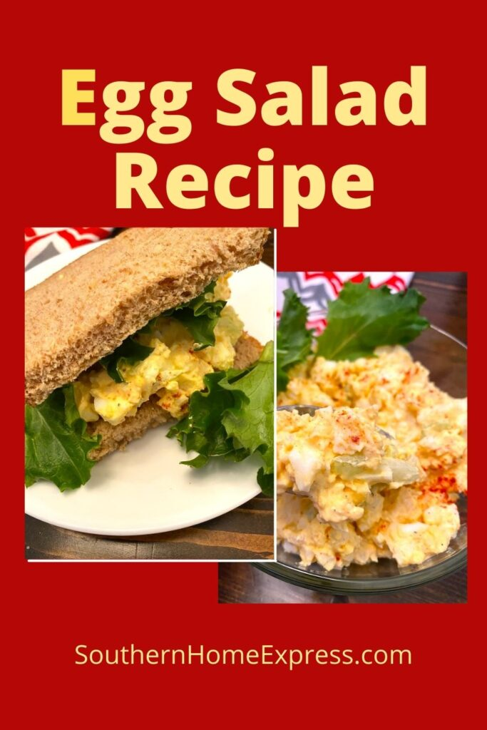 Egg salad in a bowl and in a sandwich