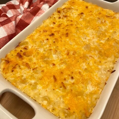 macaroni and cheese casserole in a pan