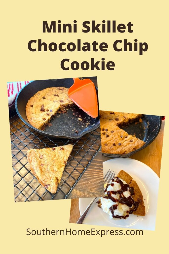 pan of chocolate chip cookie slices--one with ice cream and one without