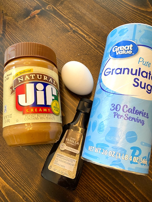 Jif peanut butter, granulated sugar, egg, and vanilla extract