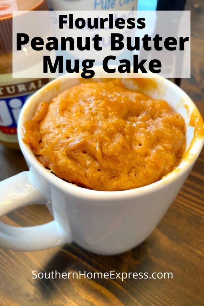 mug of peanut butter cake without flour