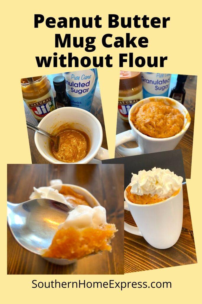 4 steps of making peanut butter mug cake