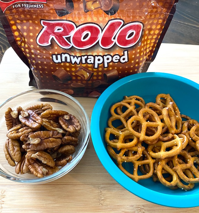 Rolos, pecans, and twisted pretzels