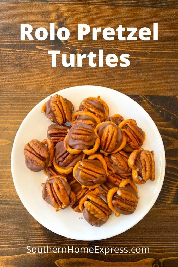 plate of Rolo pretzel Turtles