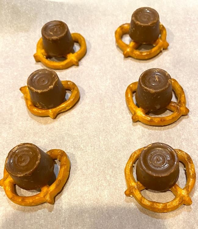 Rolos on pretzels