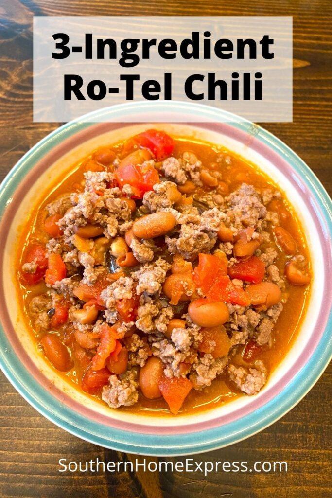 bowl of 3-ingredient Ro-tel chili