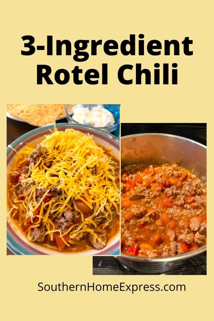 pot of chili and bowl of 3-ingredient Ro-tel chili with cheese
