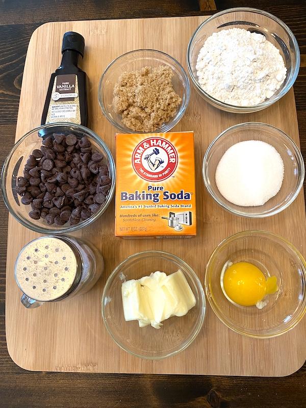flour, brown sugar, granulated sugar, baking soda, chocolate chips, butter, salt, and egg yolk