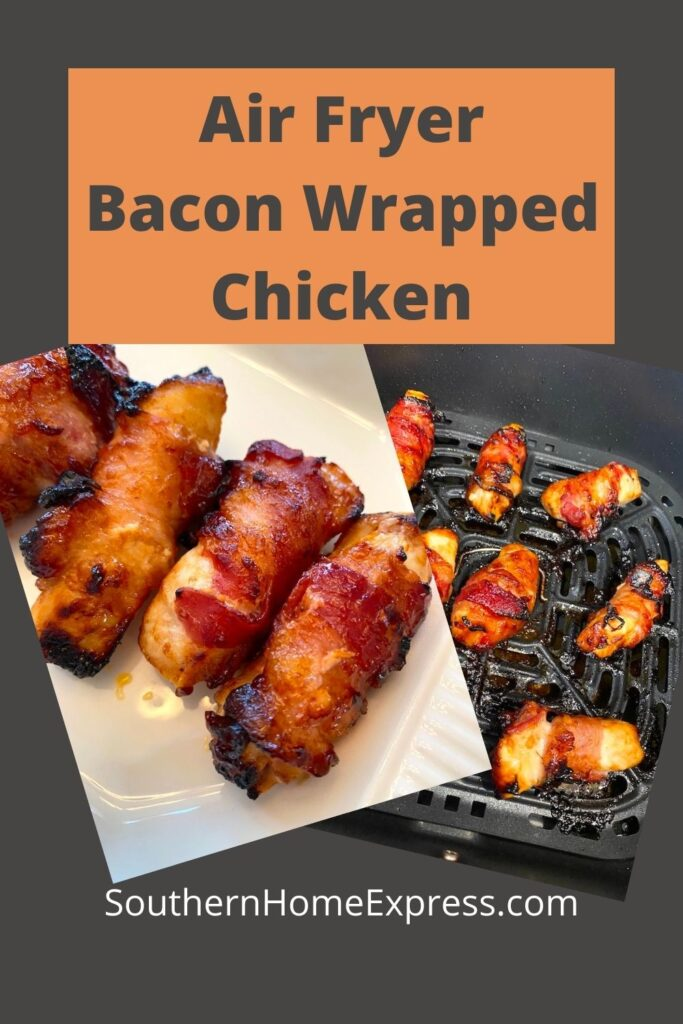 bacon wrapped chicken tenders on a platter and in an air fryer basket.