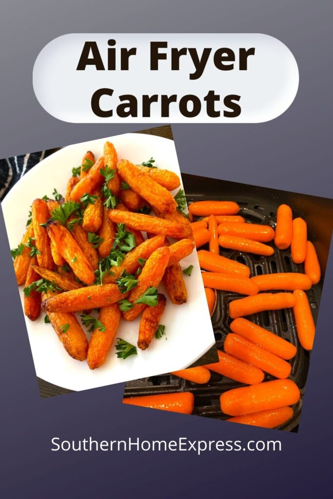 air fried carrots on a plate and in an air fryer basket