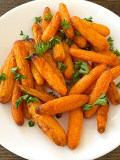 air fried carrots on a plate