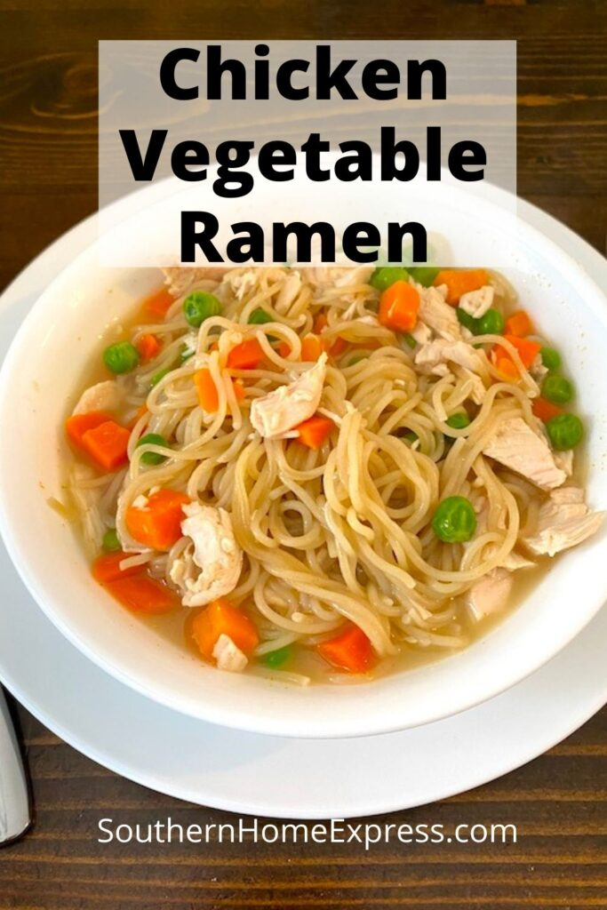 bowl of ramen, chicken, and vegetables