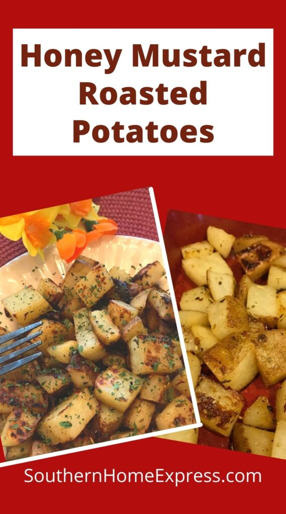honey mustard roasted potatoes on a pan and on a plate