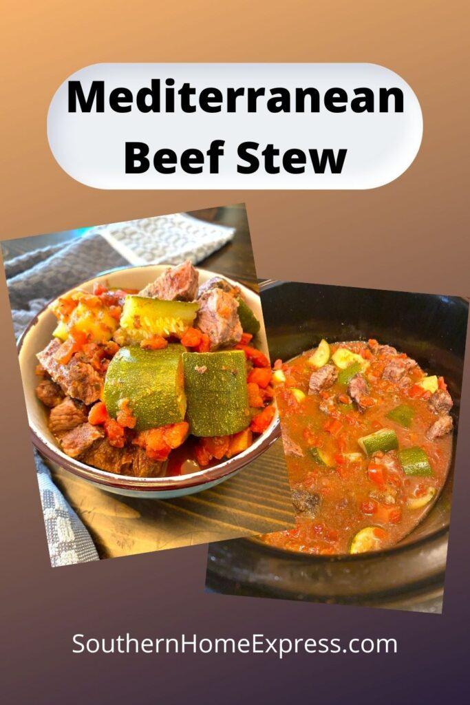 bowl and pot of Mediterranean beef stew