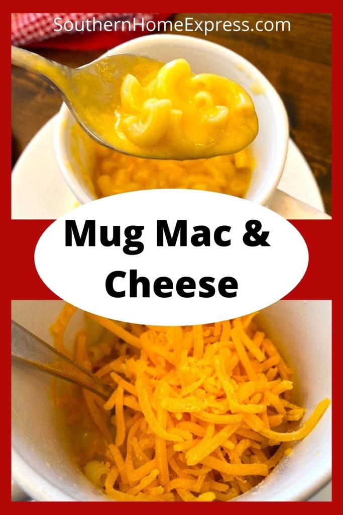 mug of mac and cheese above cheese sprinkled into mug of macaroni