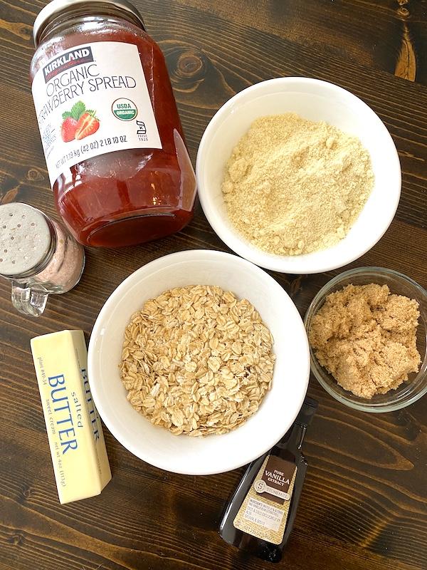 strawberry jam, almond flour, oatmeal, brown sugar, salt, vanilla extract, and butter