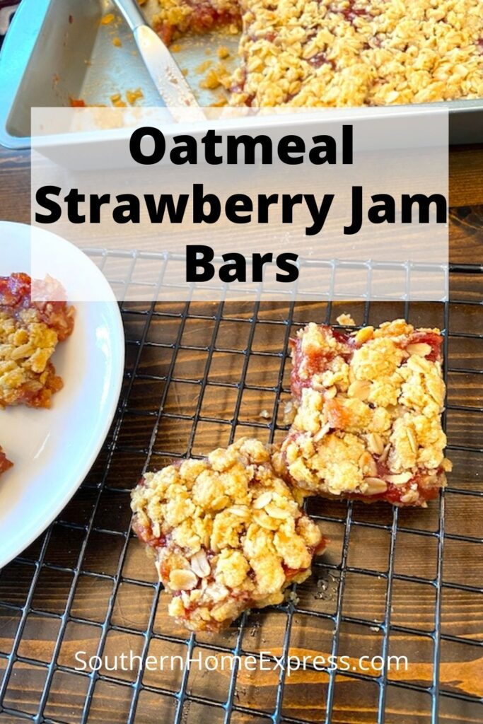 oatmeal strawberry jam bars on a plate, on a cooling rack, and in a pan.