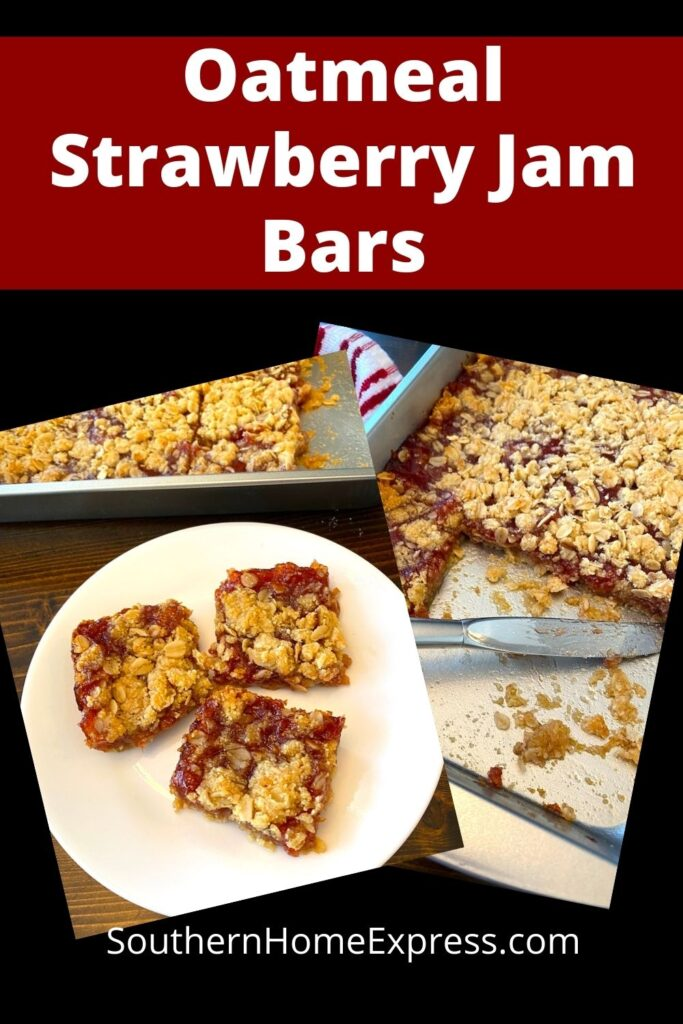 oatmeal strawberry jam bars on a plate and in a pan.