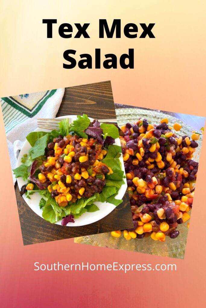 plate and bowl of tex mex salad