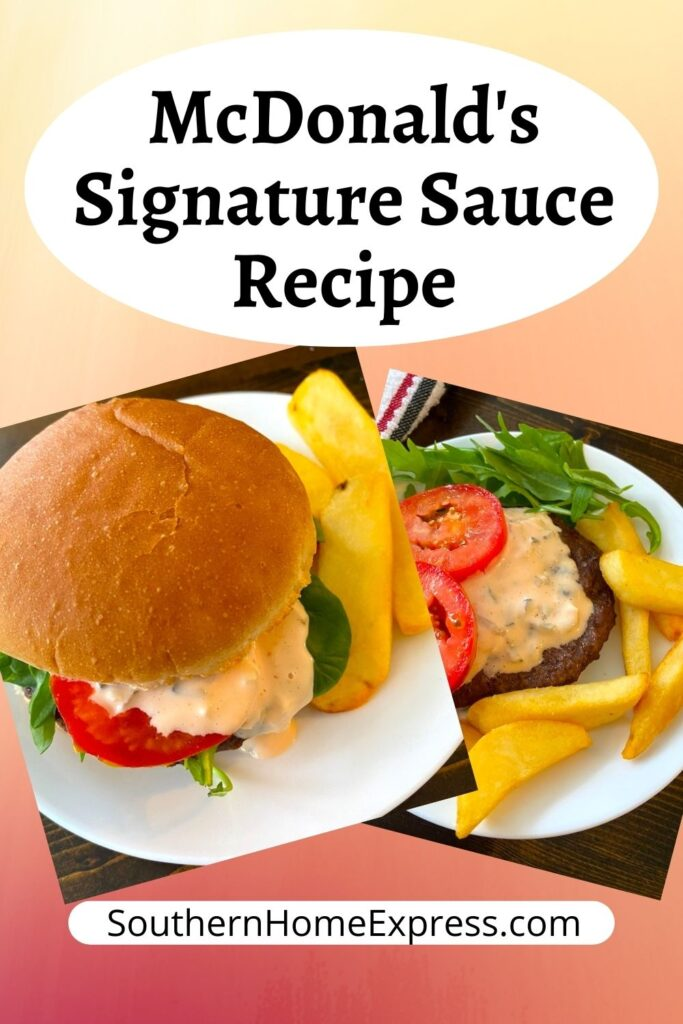 hamburger with sauce oozing out of it beside a bunless burger with McDonalds signature sauce on top