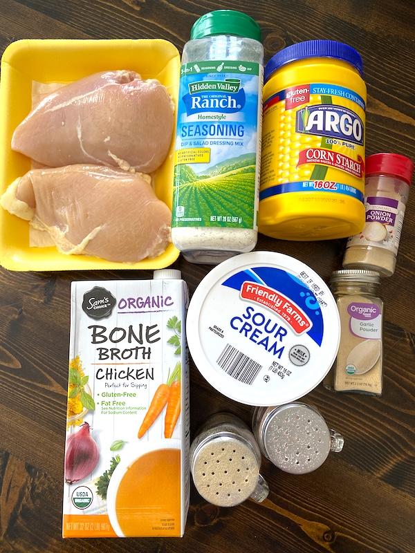 chicken, ranch seasoning, cornstarch, onion powder, garlic powder, chicken broth, sour cream, salt, and pepper