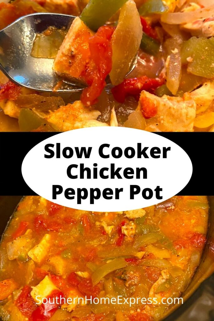 spoon of slow cooker pepper pot over a pot of pepperpot