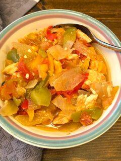 bowl of chicken pepper pot