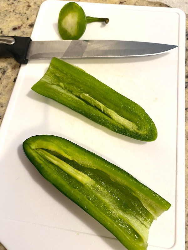 jalapenos cut in half lengthwise