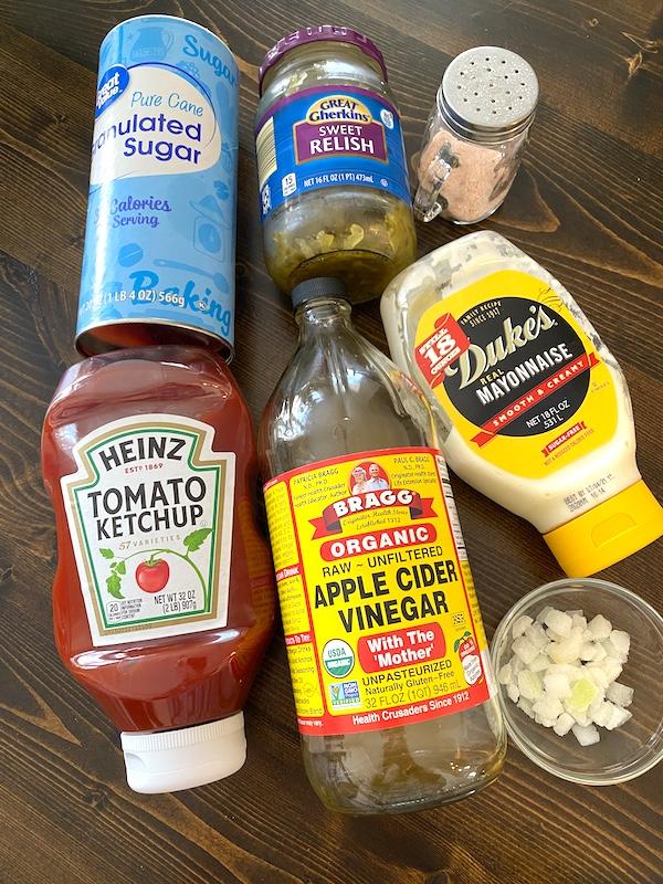 McDonalds signature sauce ingredients - sugar, sweet pickle relish, salt, ketchup, vinegar, mayonnaise, and onions