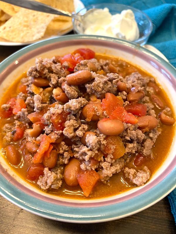 Ro-Tel chili in a bowl