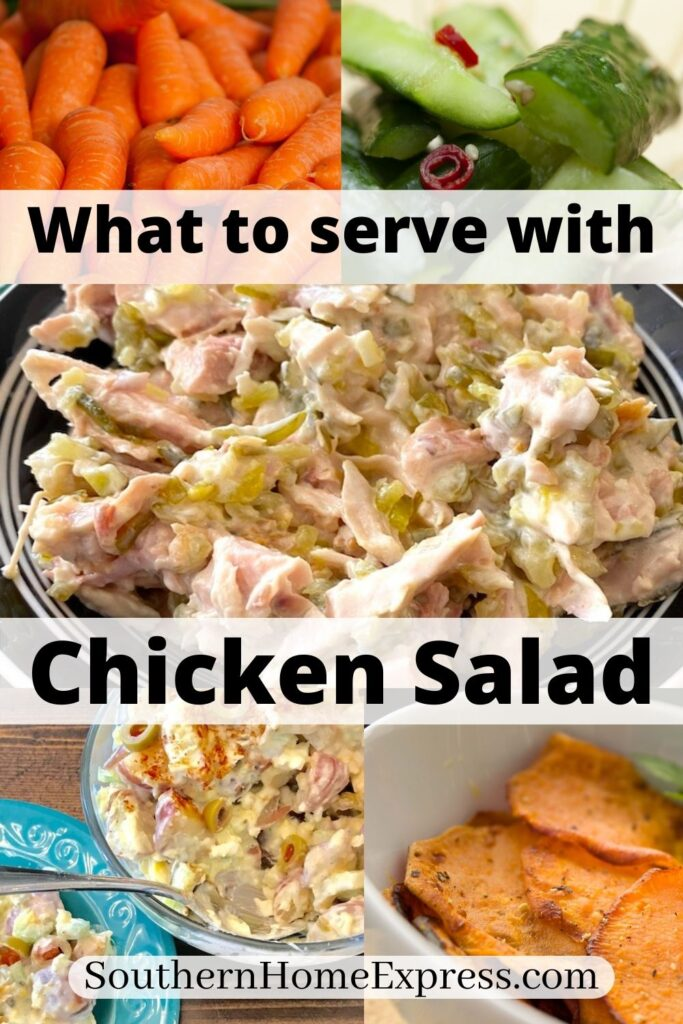 chicken salad surrounded by side dishes