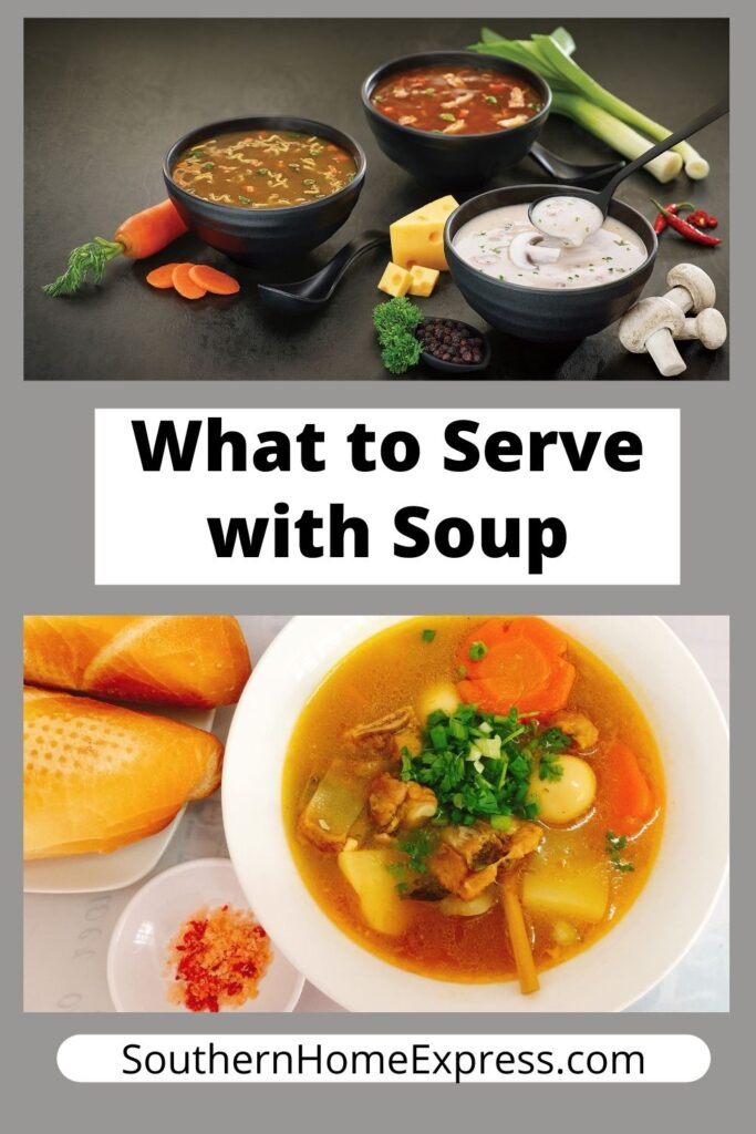 bowls of soup with bread and other sides