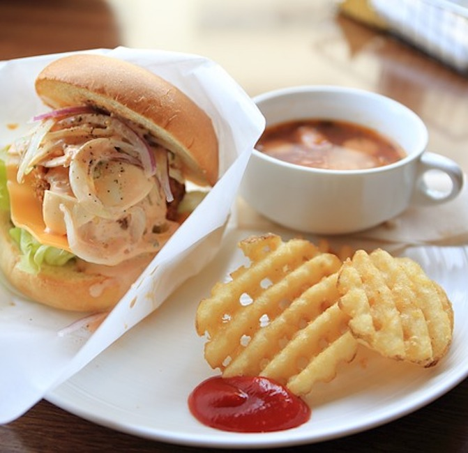 soup and sandwich with waffle fries