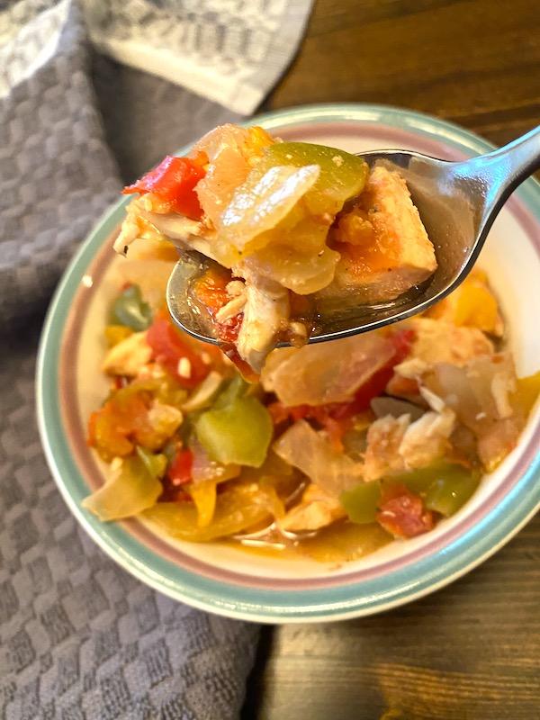 spoon of chicken pepperpot