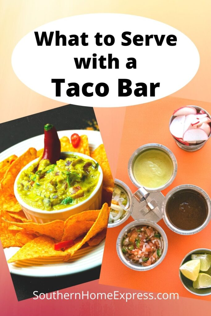 guacamole, salsa, limes, and more taco bar ingredients