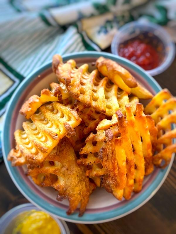 bowl of waffle fries