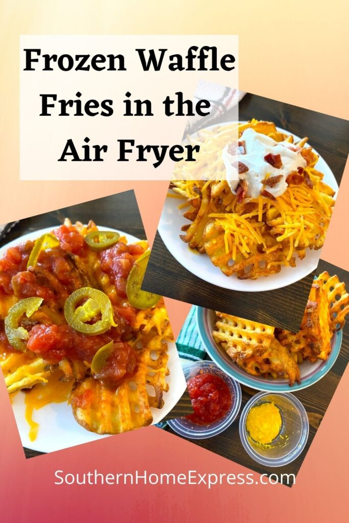 waffle fries served 3 ways - with ketchup, with salsa and jalapenos, and with sour cream, cheese, and bacon bits