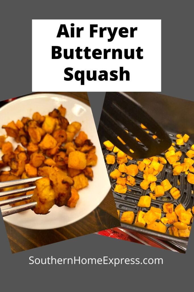 plate and air fryer basket with butternut squash